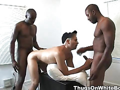 A hot and horny white twinks gets railed from behind by a big black dick and gets throat fucked by a