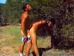 Country hunks take turns pounding ass outdoors and then blow their loads while stroking off.