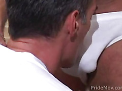 These mature men have hot bodies and they enjoy swapping blowjobs.
