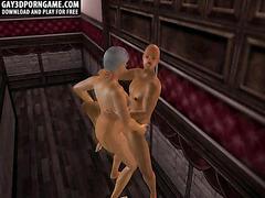 Horny 3D cartoon hunk getting fucked hard anally