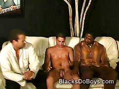 2 pervs take advantage of naked young queer in interracial 3some