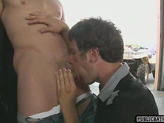 a muscle hunk gets fucked in ass in public