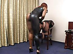 Black Mistress fucks dude with strapon Part 2