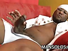 Ebony stud Jay Brown stroking his dick