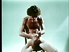 Vintage clip of dude making love to his own nice big cock