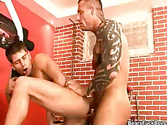 This mature hunk gets his fill when he sucks and fucks a hot twink.