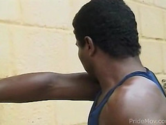 Two black studs suck dick outdoors before ass ramming in the doggystyle position.
