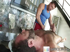 Hairy man gets massage
