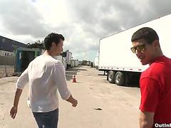 Gay blowjob at shipping yard