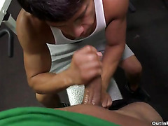 Sucking cock in the gym
