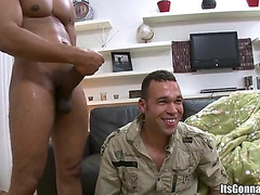 Fat gay cock stretches lips