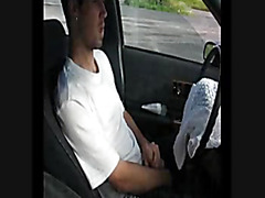 Spanking cock in the car