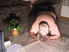 Old dude drinks his piss