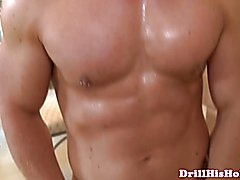 Greedy top cumming on bottoms muscular chest