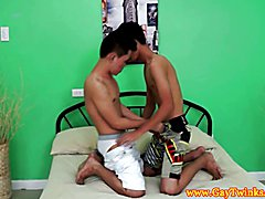 Gay asian twink gives horny pal a rimjob