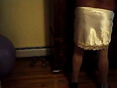 Cuckold sissy dolled up in chastity  scene 2