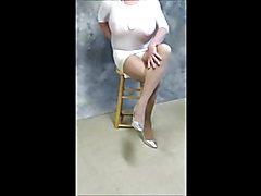 Crossdresser in Short White Dress