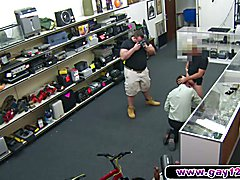A fucking gay sells his proud to two guys in pawn shop