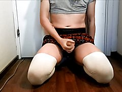 Crossdresser masturbating and cumming
