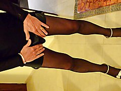 Hard Cock in Skirt and Pantyhose 2