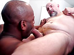 Black cocksuck works 3 loads from Hairy not daddy cock