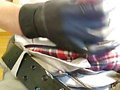 Young Boy jerk big cock latex gloves handjob cumshot