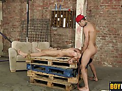 Twink bound on a pallet gets a blowjob and a hard clipping  scene 2