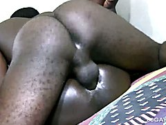 Ebony Twinks Bareback Threesome  scene 2