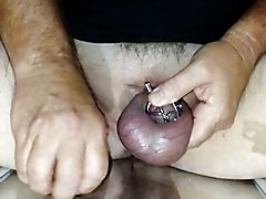 Chastity Cage Solo Demo with Release and Cum Shot