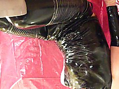 Wet and messy with eggs leather pants and shiny shirt III