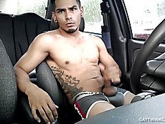 Amateur Damian Jerks Off In Car