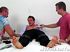 Cute Kenny gets the tickle on his lovely feet