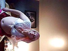 Schoolgirl sissy gets a new dildo