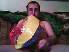 Inflatable beach ball loving