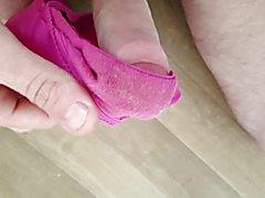 Pink satin panty raid wank