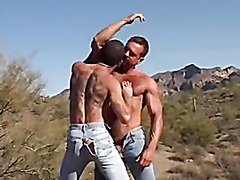 Guys in jeans fuck outdoors
