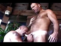 Two gay hunks make porn