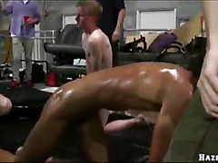 College guys wrestling each other