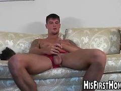 Horny jock masturbates before fucking