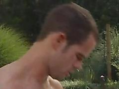 Gay hottie double penetration poolside